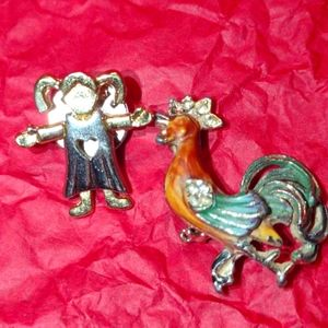Beautiful rooster and little girl brooch